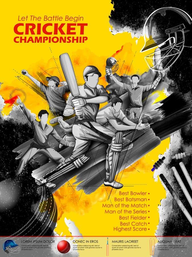 Batsman and bowler playing cricket championship sports royalty free illustration