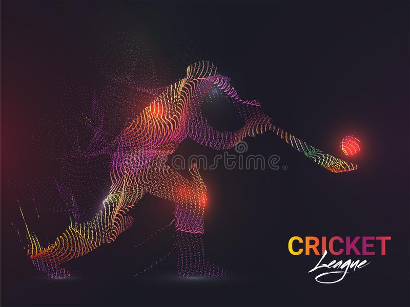 Batsman character made by abstract waves in playing action for Cricket League. Batsman character made by abstract waves in playing action for Cricket League royalty free illustration