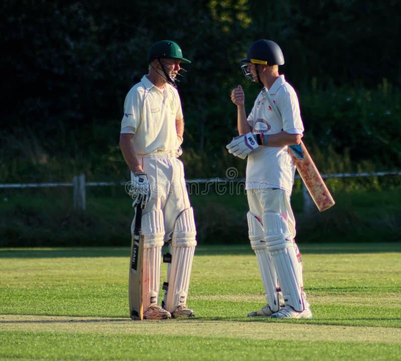 Batsman discuss the game. Village green Cricket match stock image
