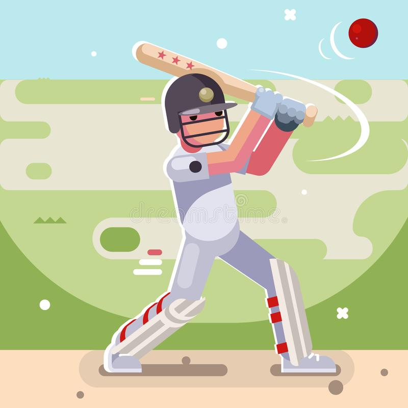 Batsman hits ball batting sport game cricket baseball bat field character flat design vector illustration royalty free illustration