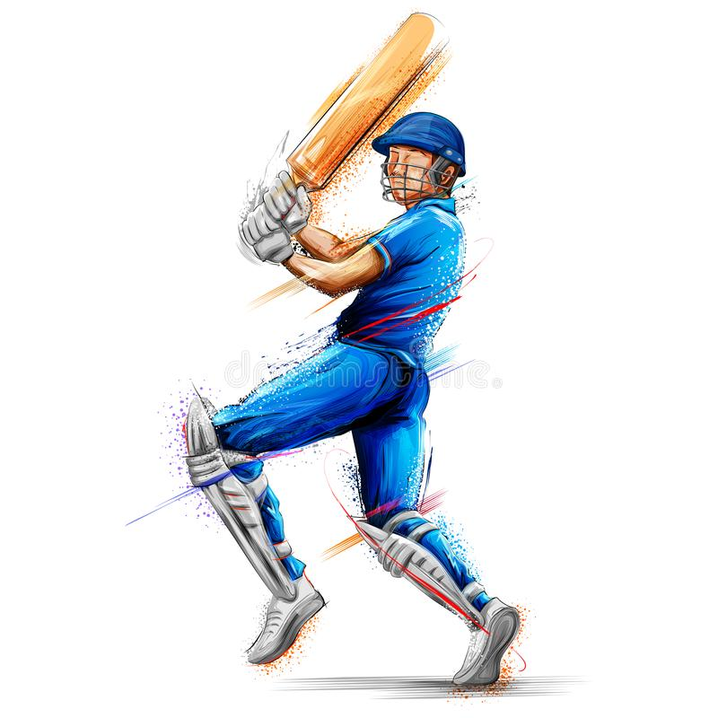 Batsman playing cricket championship sports royalty free illustration