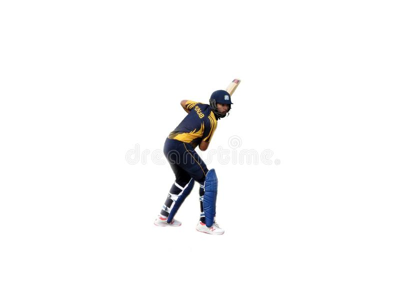 Batsmen on Isolated white background-Cricket. Photograph Yuvraj Singh player of indian cricket team isolated on white background stock images