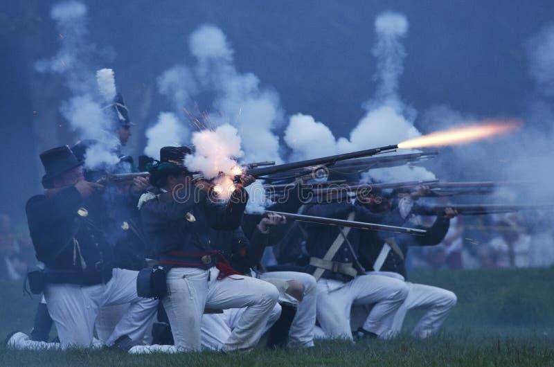 Battaglia americana di notte fotografia stock