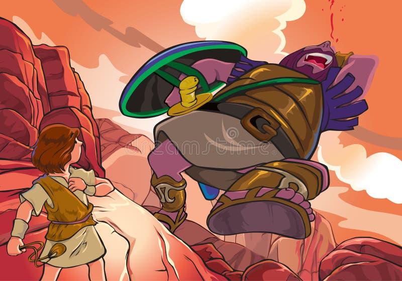 Battaglia David contro Golia illustrazione vettoriale
