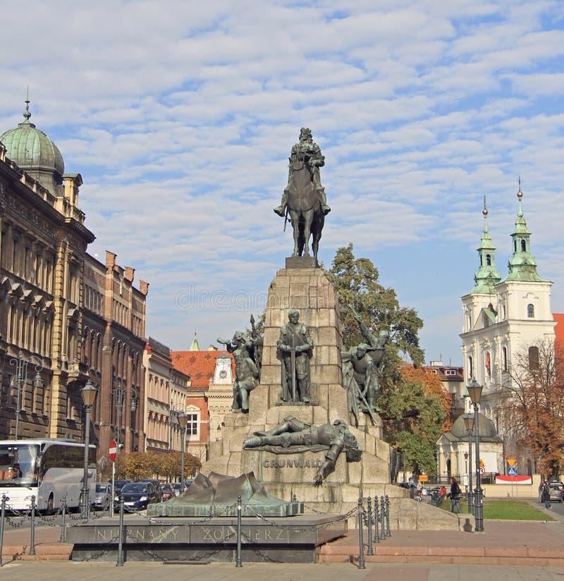 Battaglia del monumento di Grunwald a Cracovia, Polonia immagini stock libere da diritti