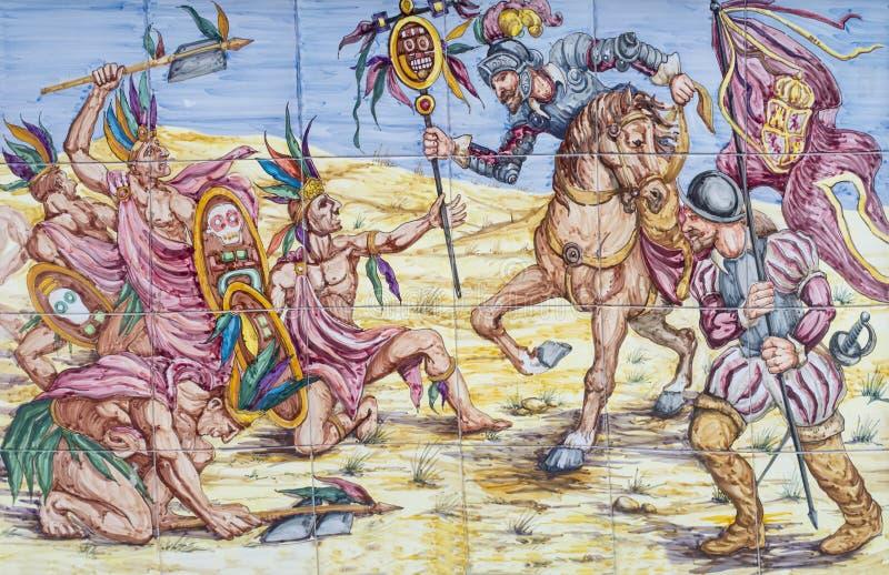 Battaglia di Otumba Conquista della scena azteca dell'impero fotografie stock