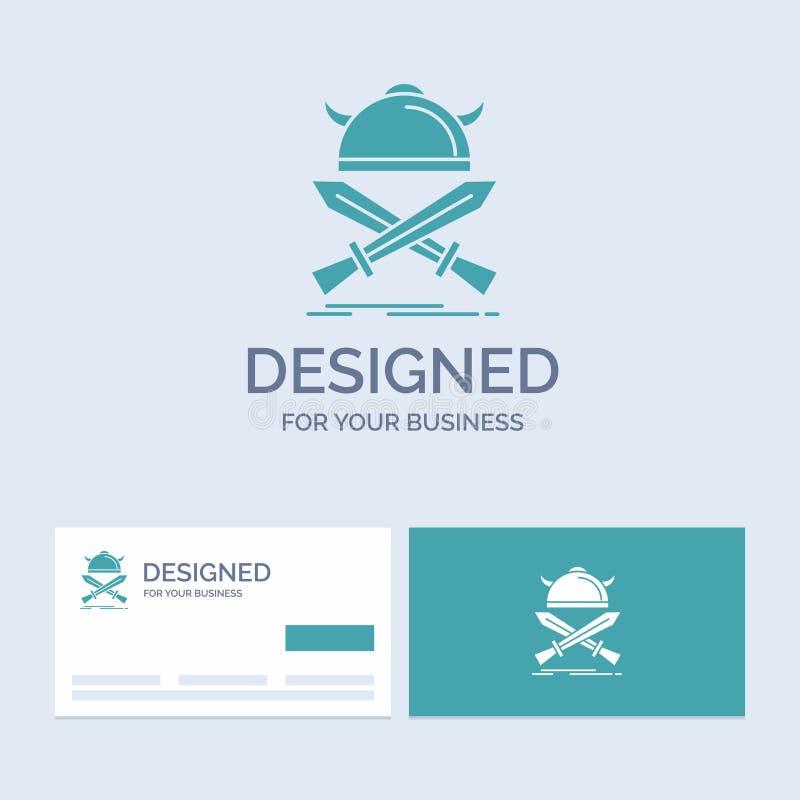 battaglia, emblema, vichingo, guerriero, affare Logo Glyph Icon Symbol delle spade per il vostro affare Biglietti da visita del t illustrazione di stock