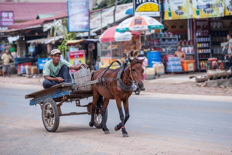Male khmer on wooden horse cart, brown draft horse run in asphalt road in urban of Phnom Penh. Battambang, Cambodia stock photos
