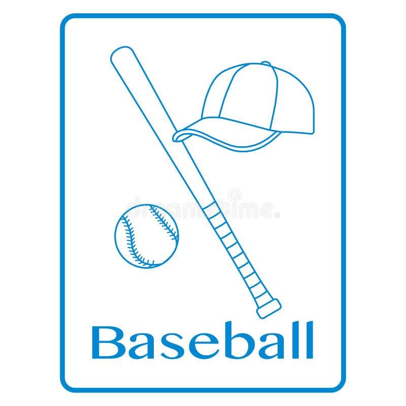 Batte de baseball, boule, chapeau Illustration de vecteur de sport illustration libre de droits