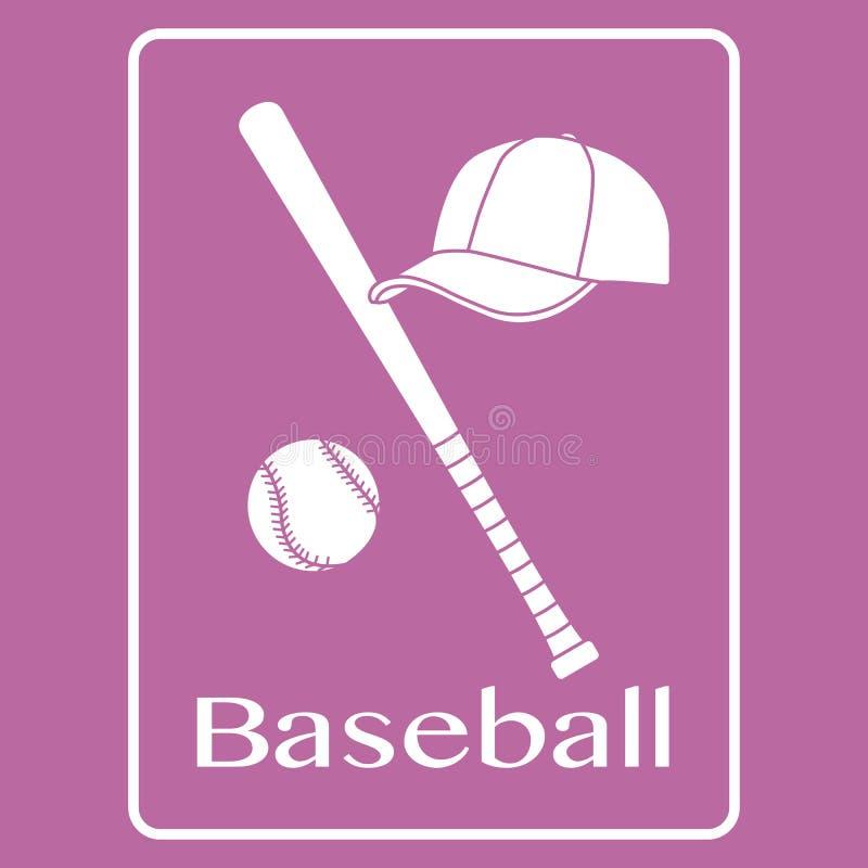 Batte de baseball, boule, chapeau Illustration de vecteur de sport illustration stock
