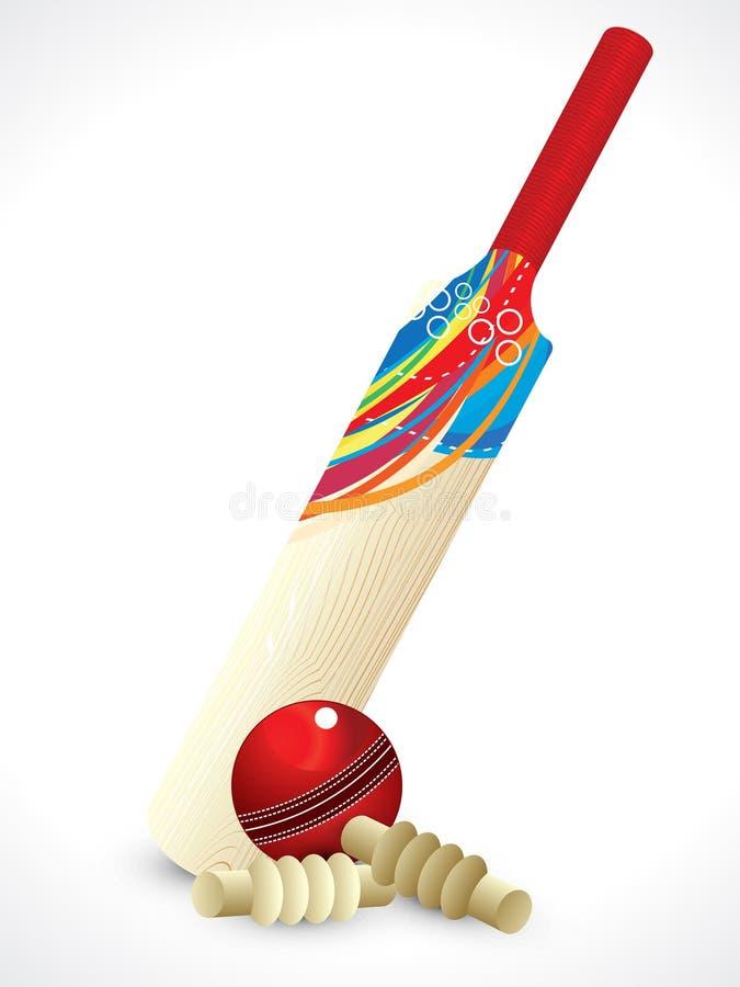 Batte de cricket détaillée abstraite illustration libre de droits