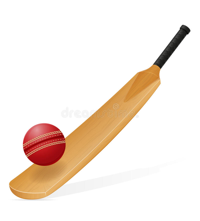 Batte de cricket et illustration de vecteur de boule illustration stock