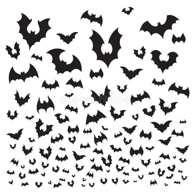 Batte de Halloween de vol Le troupeau de battes de caverne silhouettent la mouche au ciel Illustration effrayante de fond de vect illustration stock