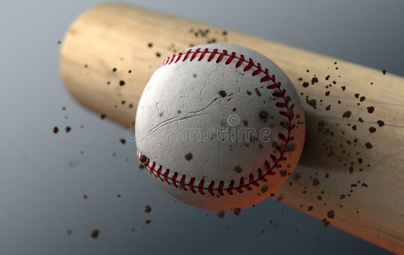 Batte saisissante de base-ball dans le mouvement lent illustration de vecteur