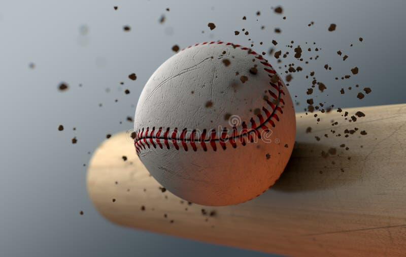 Batte saisissante de base-ball dans le mouvement lent illustration stock