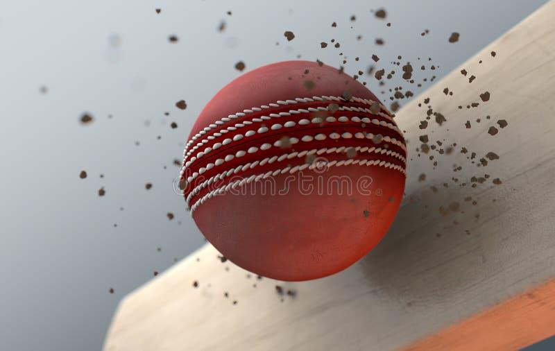 Batte saisissante de boule de cricket dans le mouvement lent illustration libre de droits