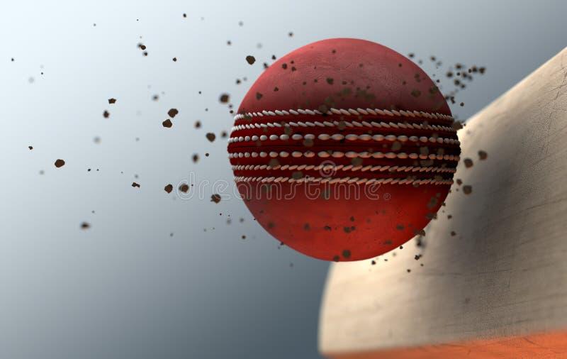 Batte saisissante de boule de cricket dans le mouvement lent illustration de vecteur