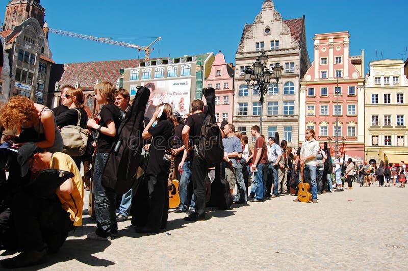 Battement d'enregistrement de guitare de Guinness du monde en Pologne photos stock