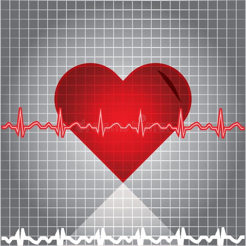 Battement de coeur d'Ekg illustration stock