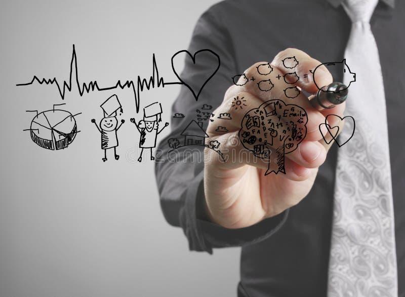 Battement de coeur de diagramme de dessin d'homme d'affaires illustration stock