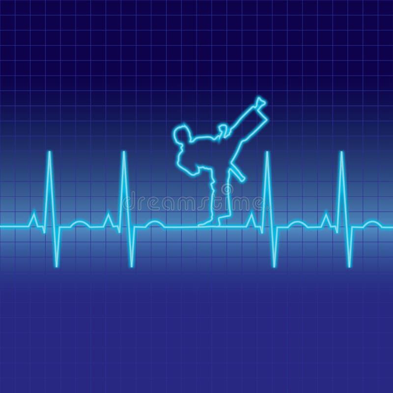 Battement de coeur de karaté d'EKG illustration de vecteur