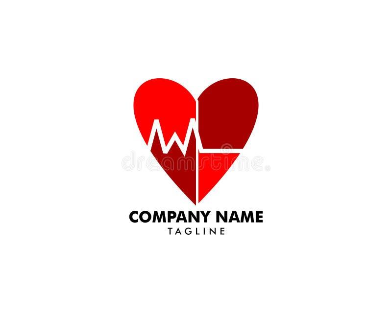 Battement de coeur Logo Template Design illustration de vecteur
