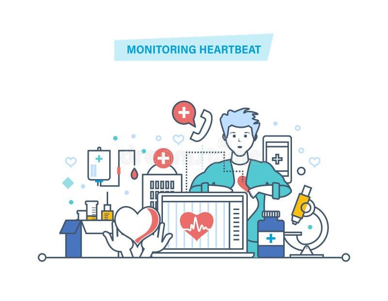 Battement de coeur de surveillance Service, soins de santé Diagnostics médicaux d'ordinateur, aide médicale à distance illustration de vecteur