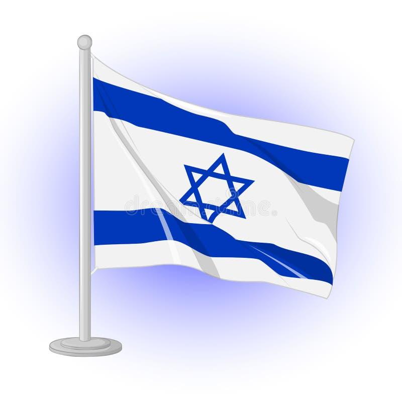 Battement de drapeau de l'Israël dans le vent Icône pour votre conception d'isolement sur le fond bleu dans le style de bande des illustration libre de droits