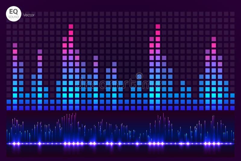 Battement de musique Allume le fond Palonnier abstrait Onde sonore Technologie audio d'égaliseur Bokeh détaillé L'espace FO illustration libre de droits
