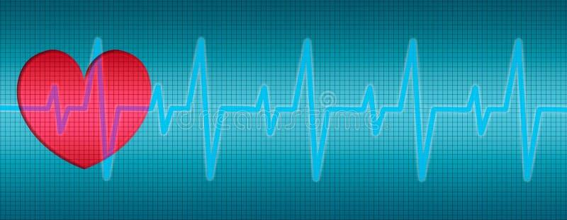 Battements de coeur, ECG, courbes, diagramme illustration libre de droits