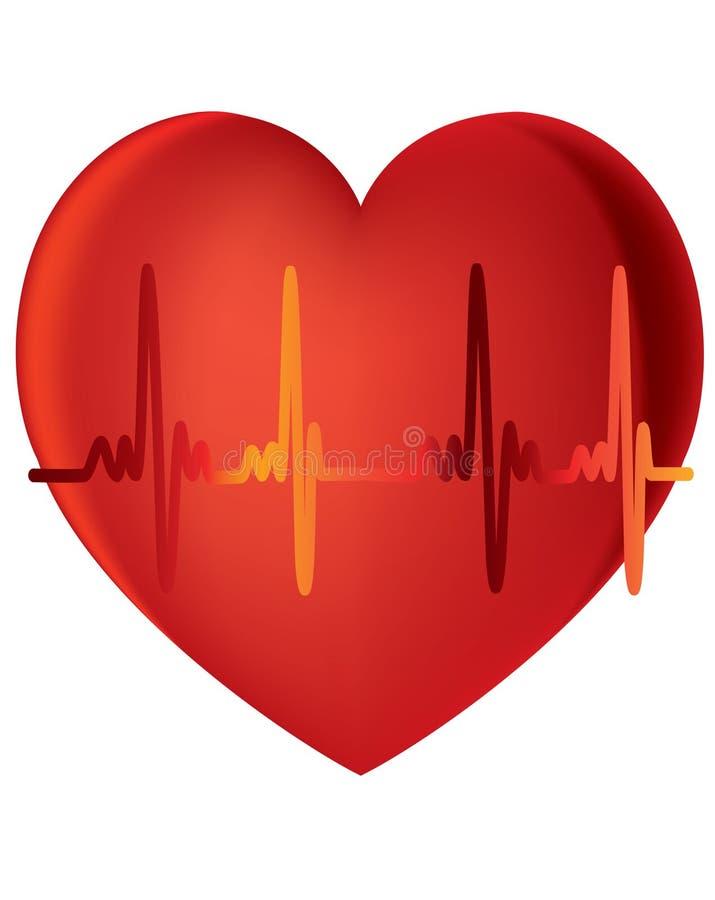 Battements de coeur en fonction avec le fond blanc illustration de vecteur