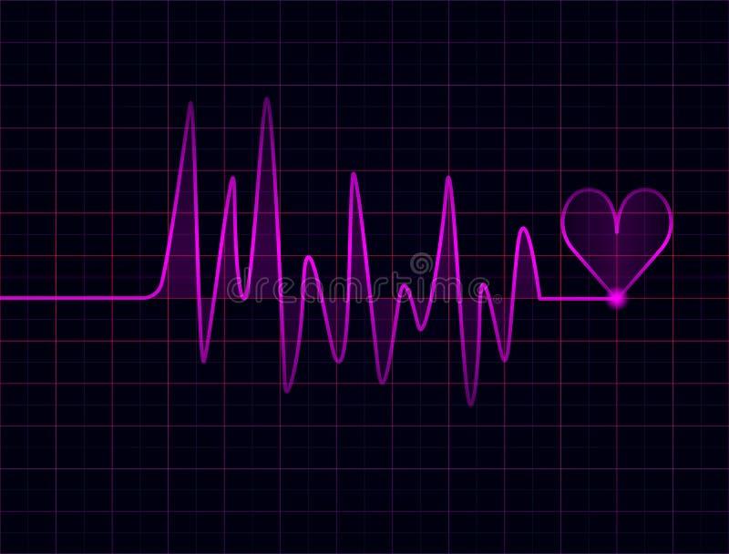 Battements de coeur fuchsia abstraits sur le fond foncé illustration stock