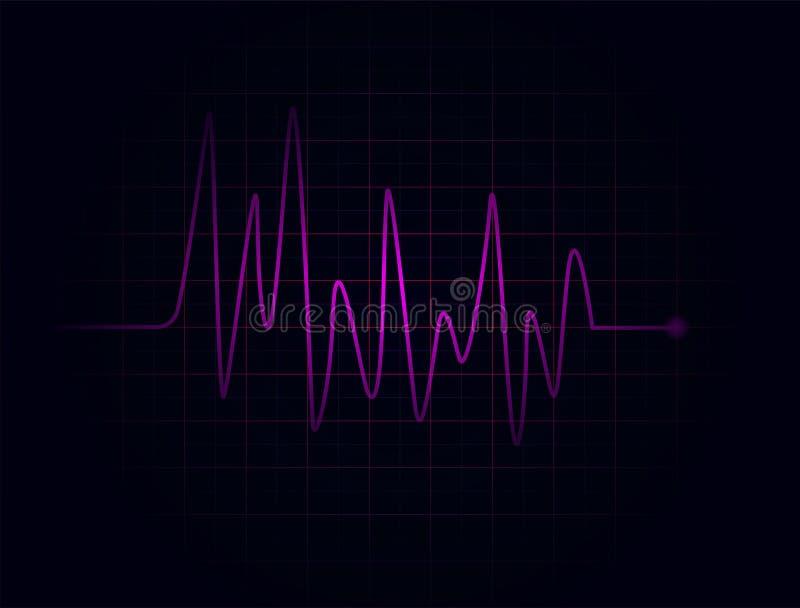 Battements de coeur fuchsia abstraits sur le fond foncé illustration libre de droits