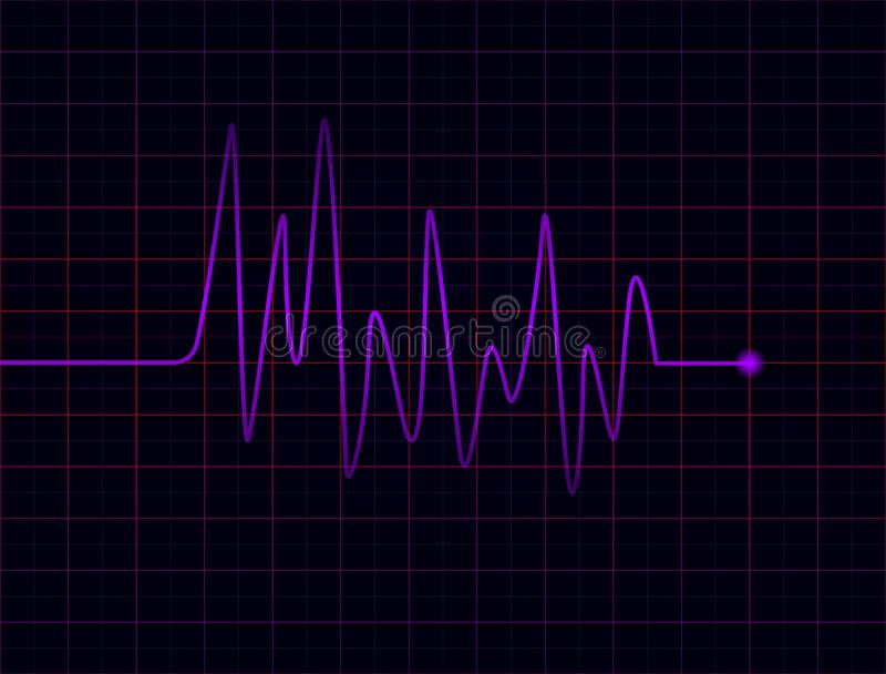 Battements de coeur pourpre abstraits sur le fond foncé illustration libre de droits