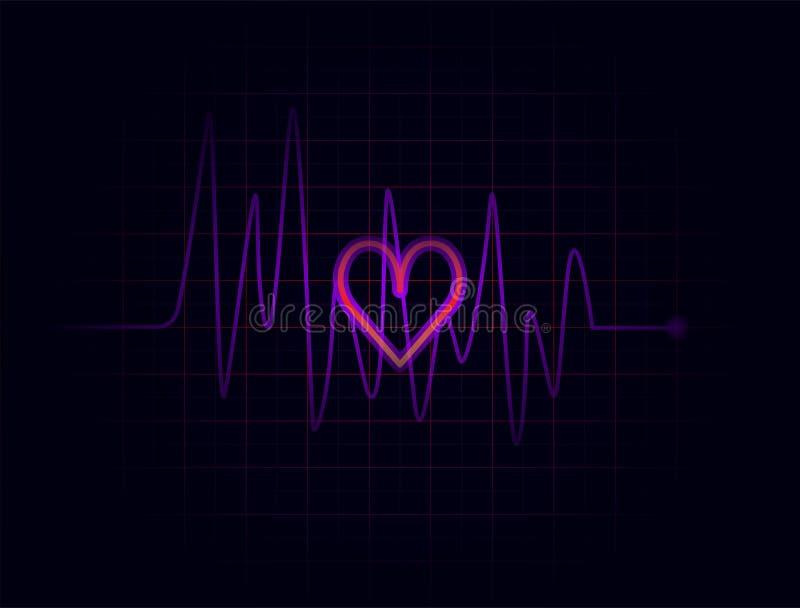 Battements de coeur pourpre foncés de résumé sur le fond foncé illustration de vecteur