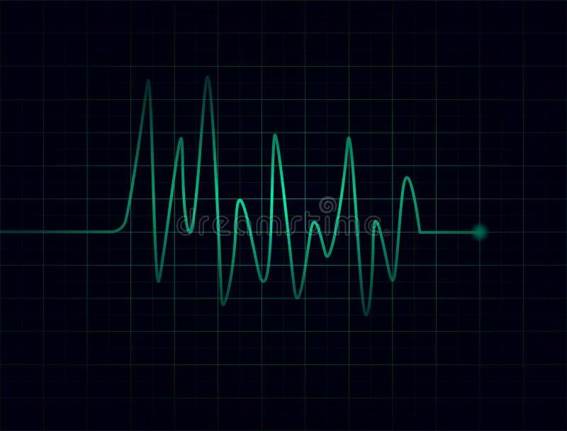 Battements de coeur verts abstraits sur le fond foncé illustration stock
