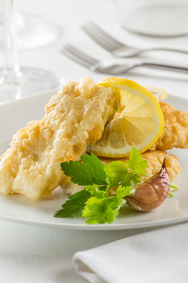 Battered hake fillets stock photos
