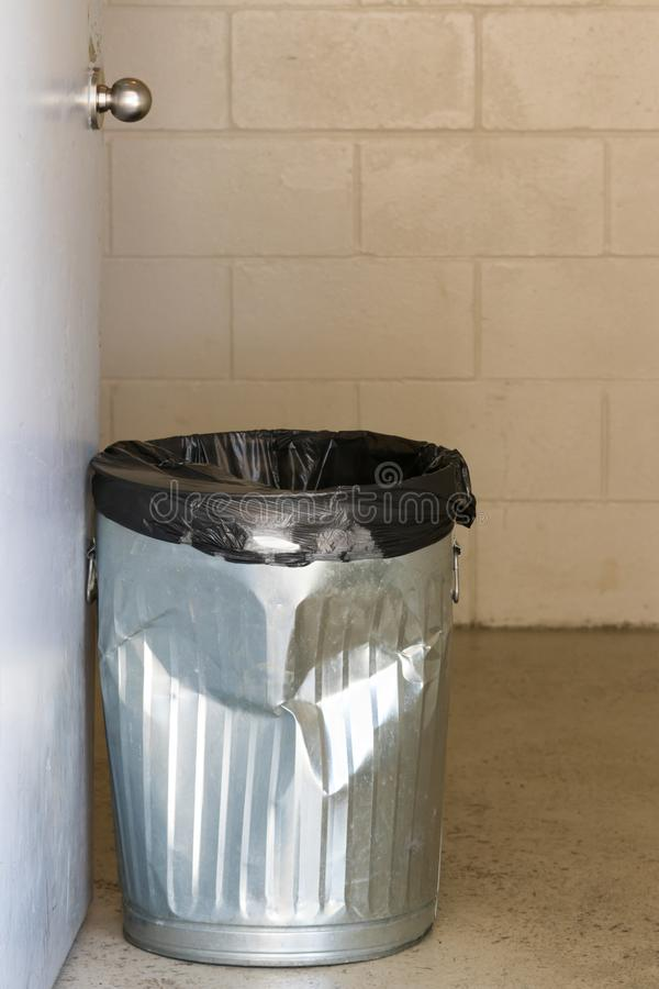 Download Battered Tin Garbage Can Holding Open Door To Public Washroom Stock Photo - Image of & Battered Tin Garbage Can Holding Open Door To Public Washroom Stock ...