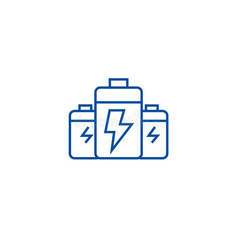 Batteri begrepp för energikraftledningsymbol Batteri symbol för vektor för energimakt plant, tecken, översiktsillustration stock illustrationer