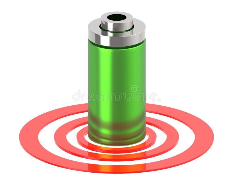 batteri 3d på en rund cirkel vektor illustrationer