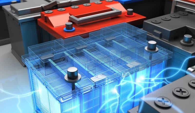 Batteri för bil och elektricitet stock illustrationer