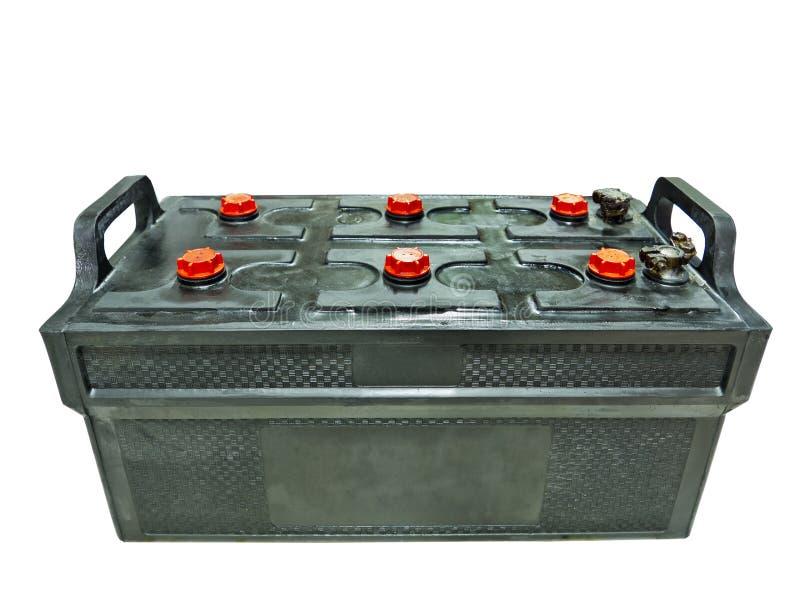 Batteri för blyertssyra som isoleras på vit arkivbild