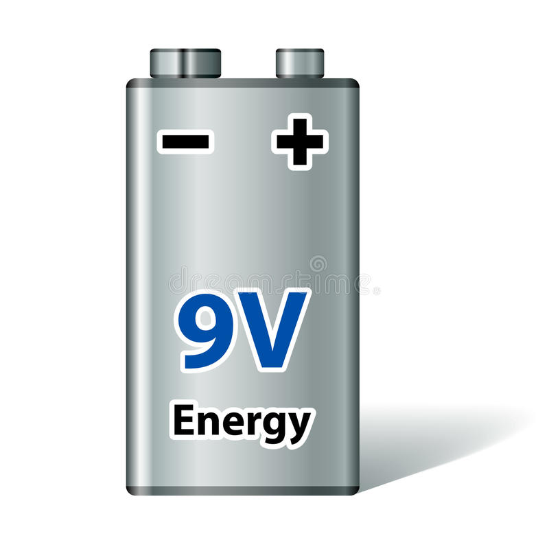 batteri för fyrkant 9v stock illustrationer