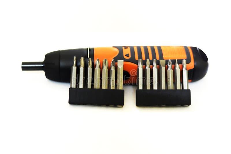 Batteri fungeringsskruvmejsel arkivfoton