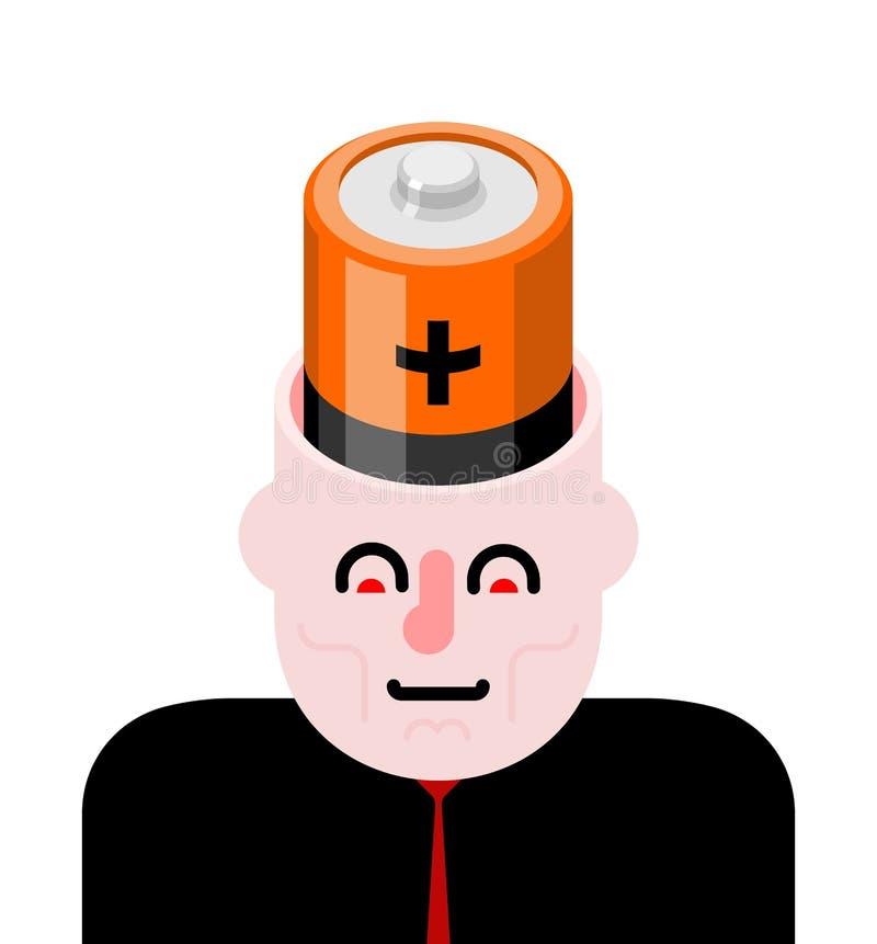 Batteri i öppet huvud Laddning för hjärna vektor illustrationer