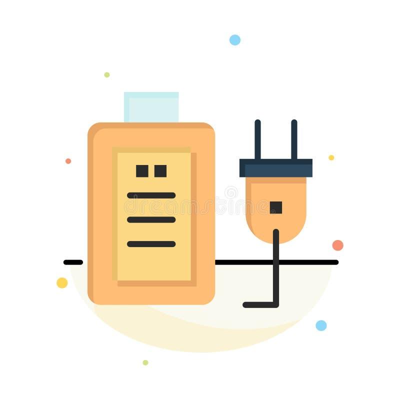 Batteri laddning, propp, för färgsymbol för utbildning abstrakt plan mall vektor illustrationer