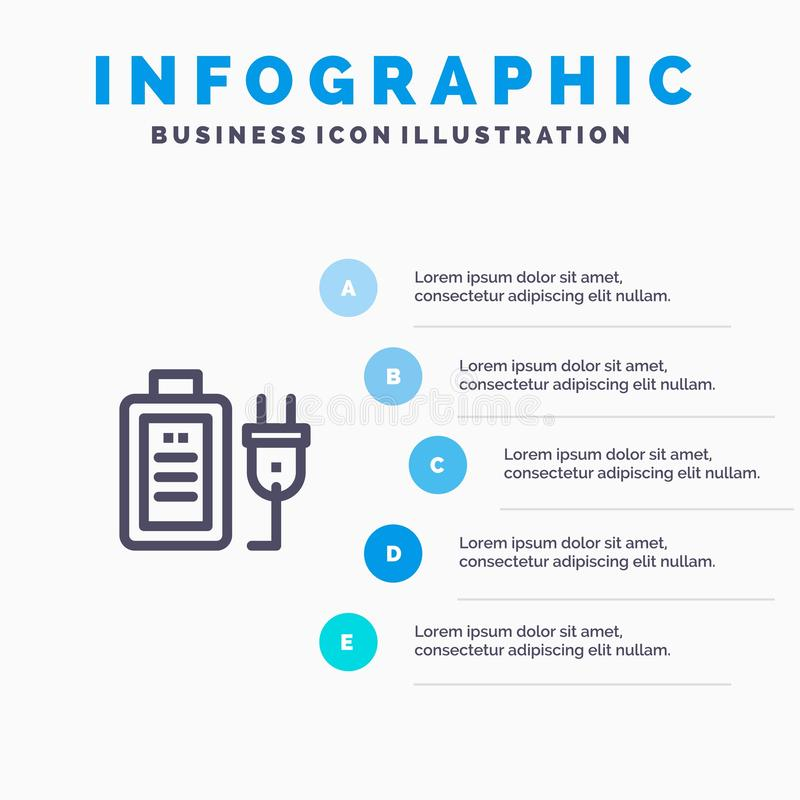 Batteri laddning, propp, för Infographics för utbildning blåa moment mall 5 Vektorlinje symbolsmall vektor illustrationer