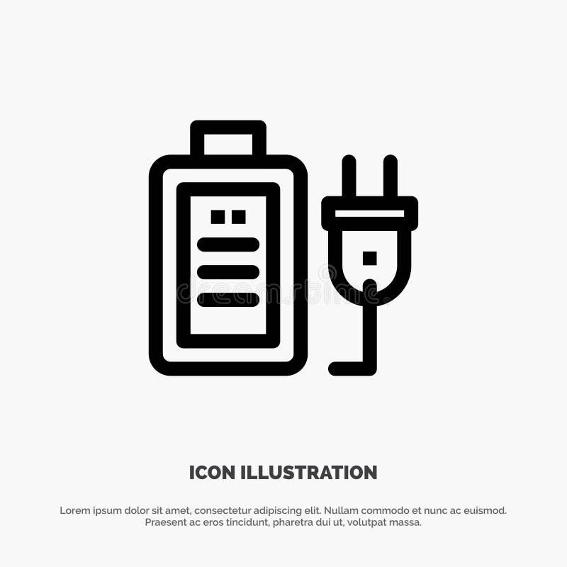Batteri laddning, propp, utbildningsvektorlinje symbol vektor illustrationer