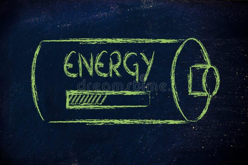 Batteri med päfyllning för energiframstegstång arkivfoto
