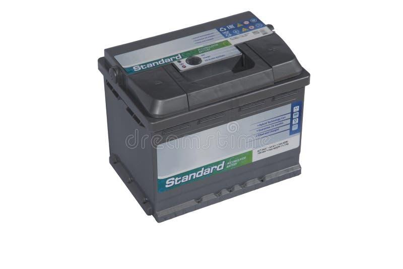 Batteri på vit bakgrundssyraledning för bil royaltyfria foton